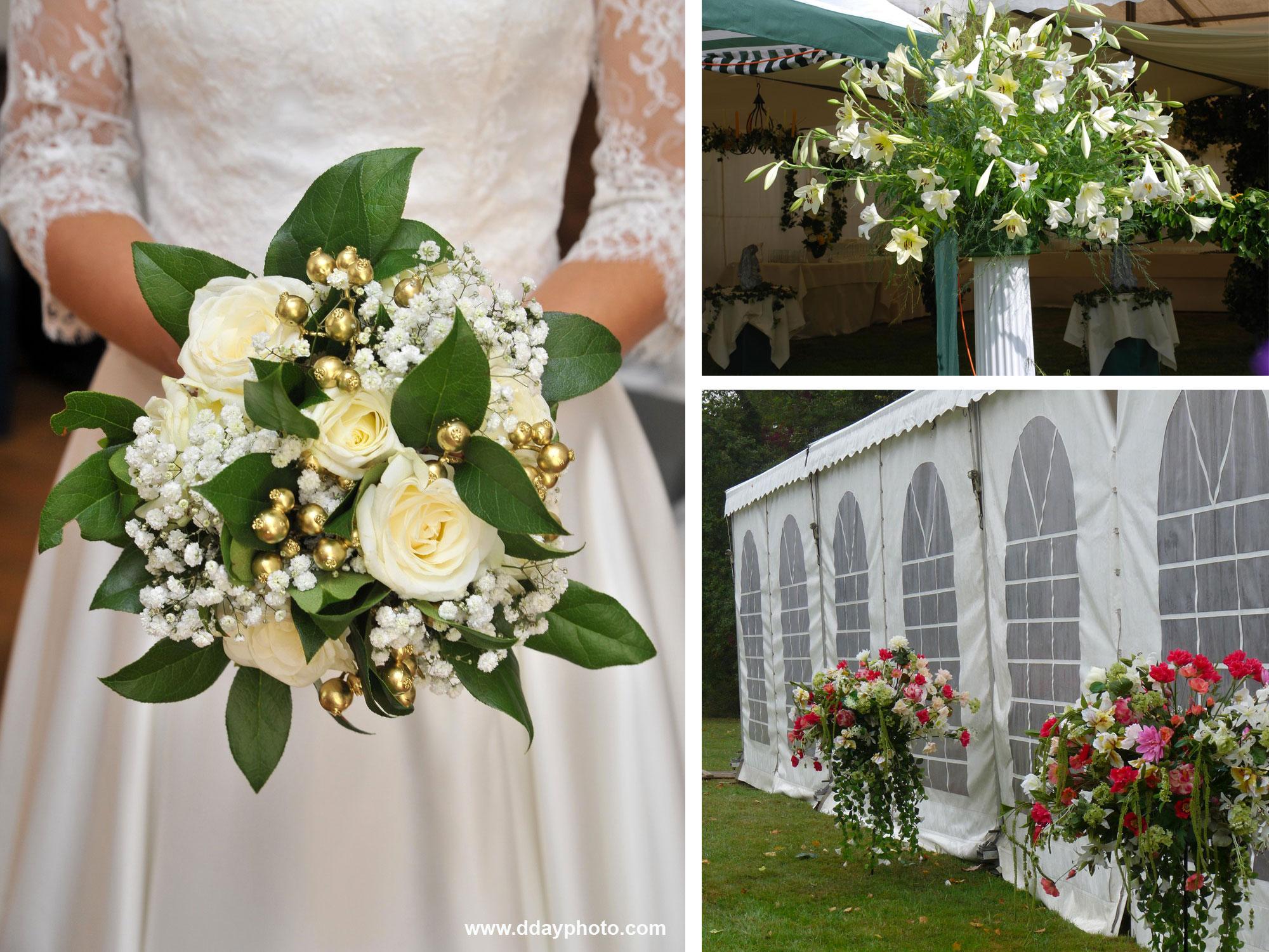 bouquet de mariée, tente de mariage