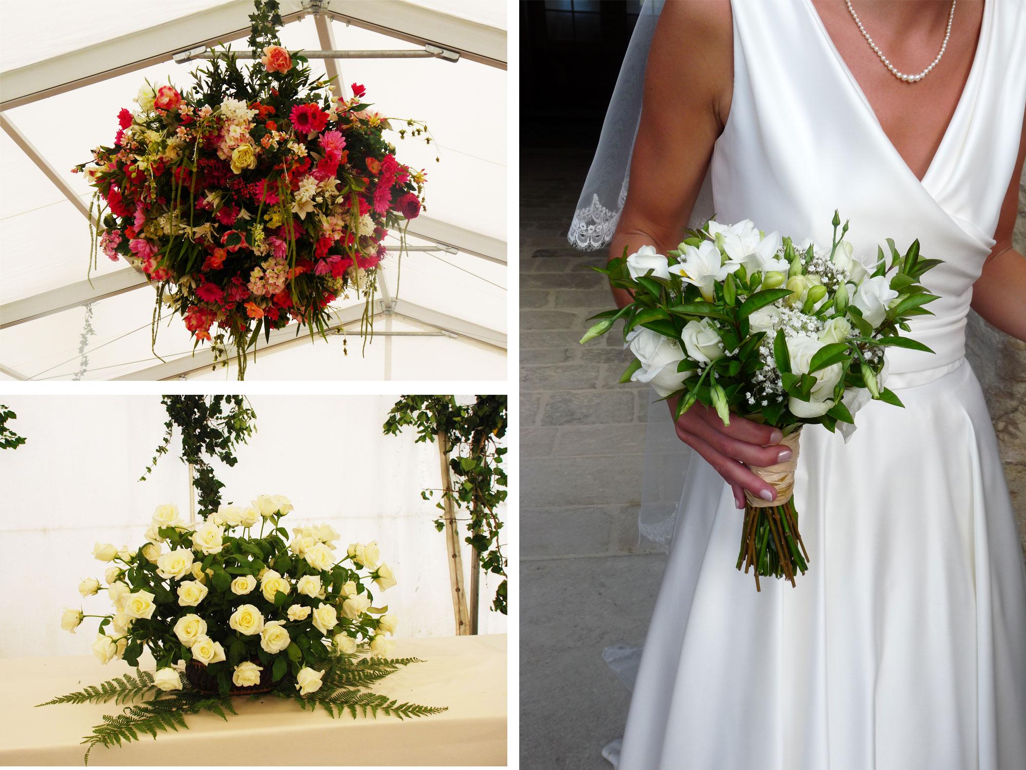 bouquet de mariée et décoration florale de mariage